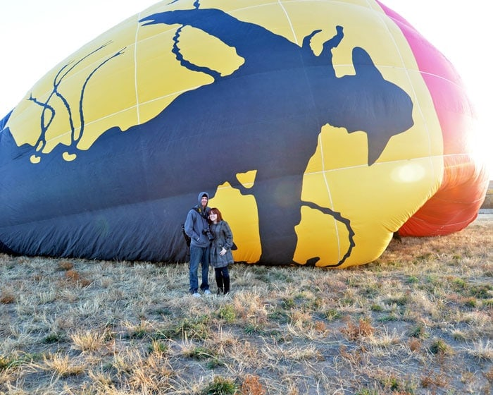 In front of the Adventures Out West balloon while it inflates prior to our hot air balloon experience.