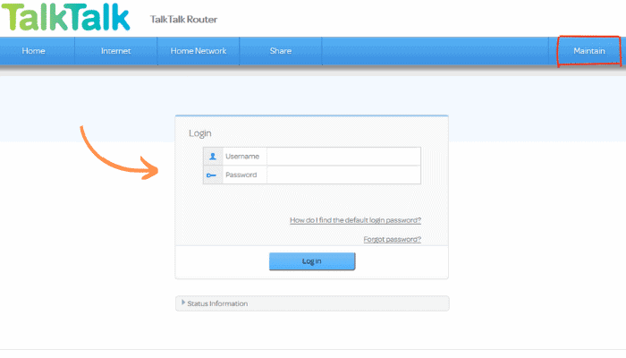 talk talk router login