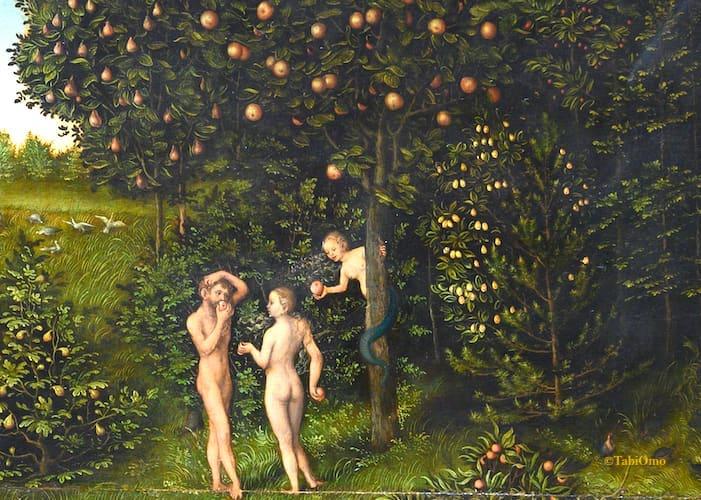 林檎をすすめられるアダムとイブの画像