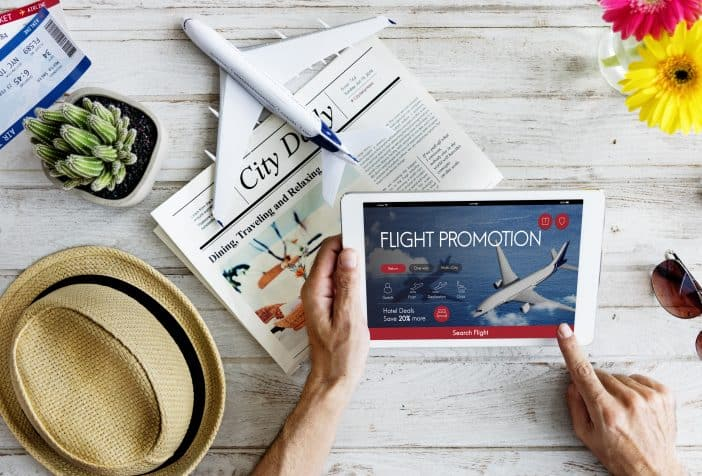 Air Ticket Flight Booking on a Tab Online