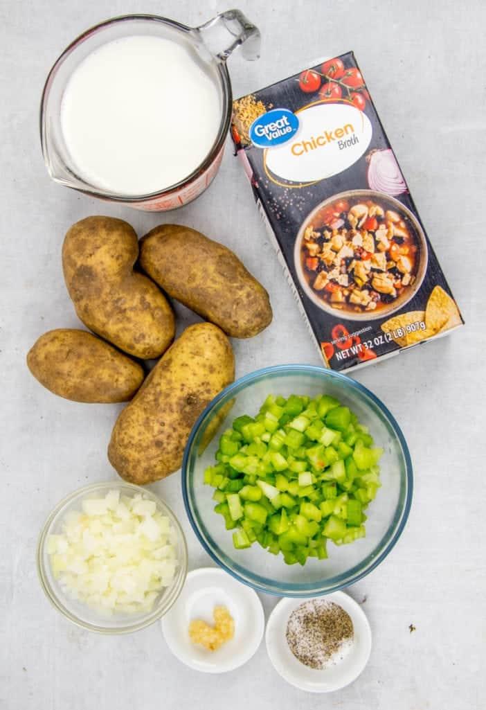 russet potatoes, onions, celery, chicken stock, half and half salt and pepper, garlic