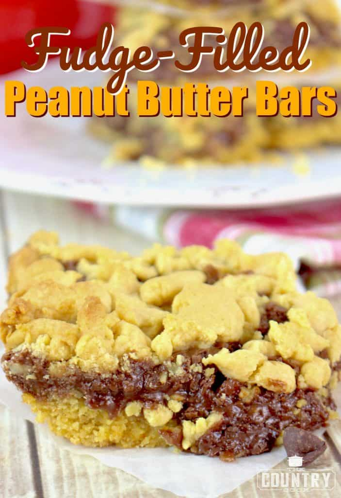 Fudge Filled Peanut Butter Bars made with cake mix recipe from The Country Cook