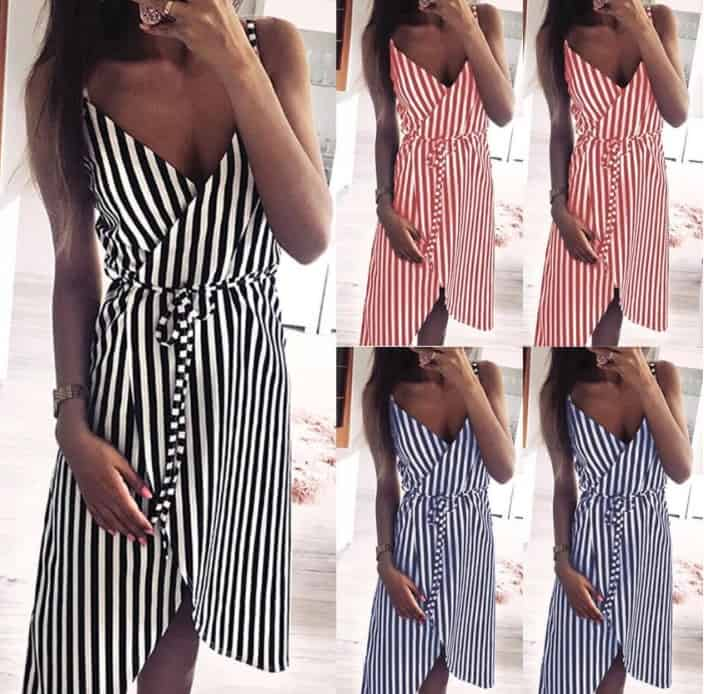 Top 10 AliExpress Elegant Party Dresses Summer Dresses for Woman 4 Women Stripe Printing Sleeveless Off Shoulder Dress