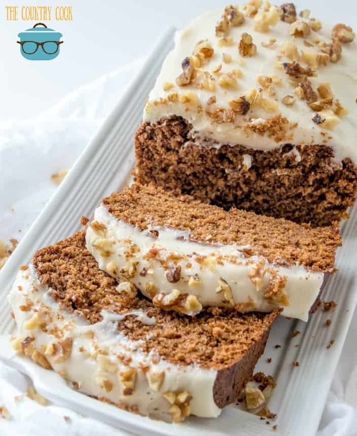 Copycat Starbuck's Gingerbread Cake with Cream Cheese Frosting and topped with chopped walnuts