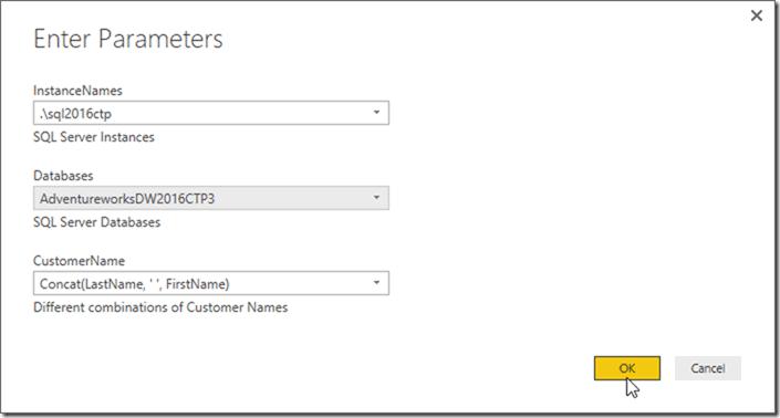 Power BI Desktop Enter Parameters