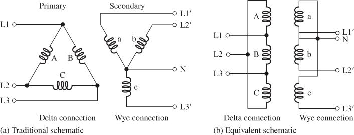 Delta-Wye Connected (Δ-Y) Transformer