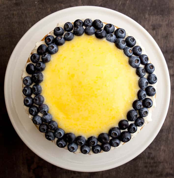 White Zucchini Cake with Whipped Vanilla Frosting, Lemon Curd and Blueberries-2