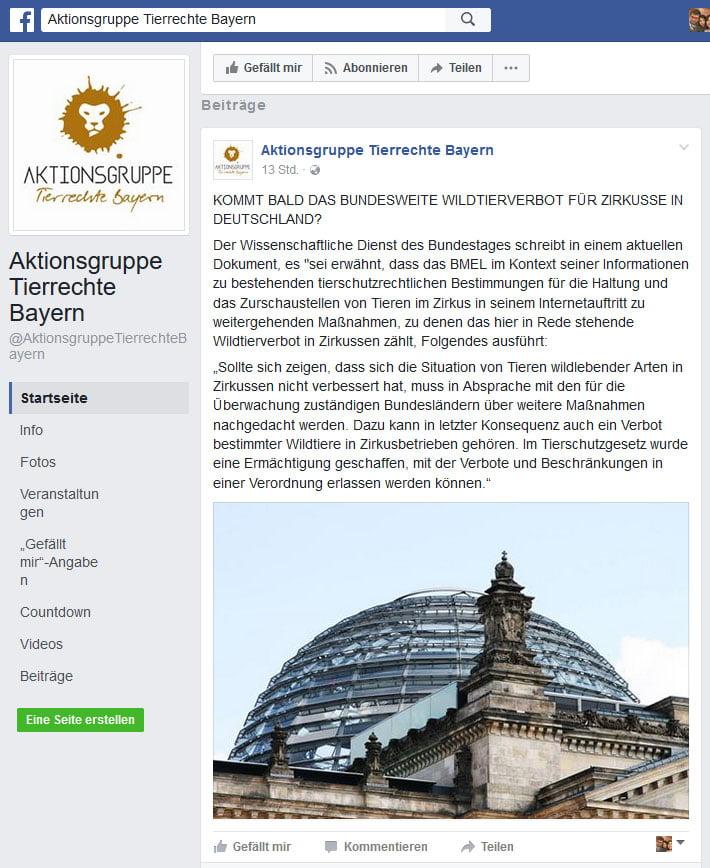 Wildtierverbot durch Kommunen rechtswidrig? / Screenshot Facebook Aktionsgruppe Tierrechte Bayern