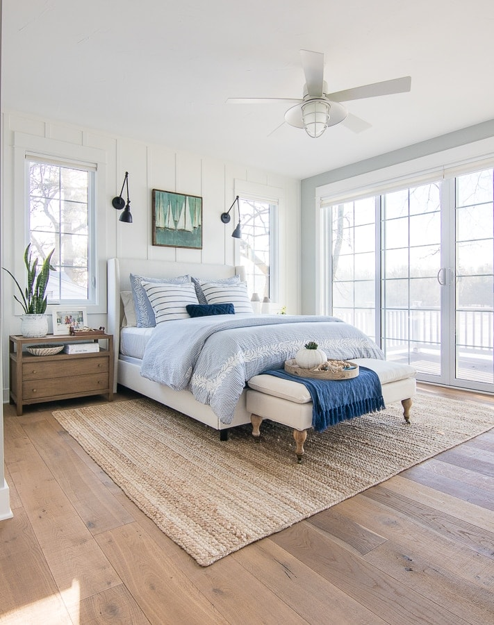 white and blue master bedroom