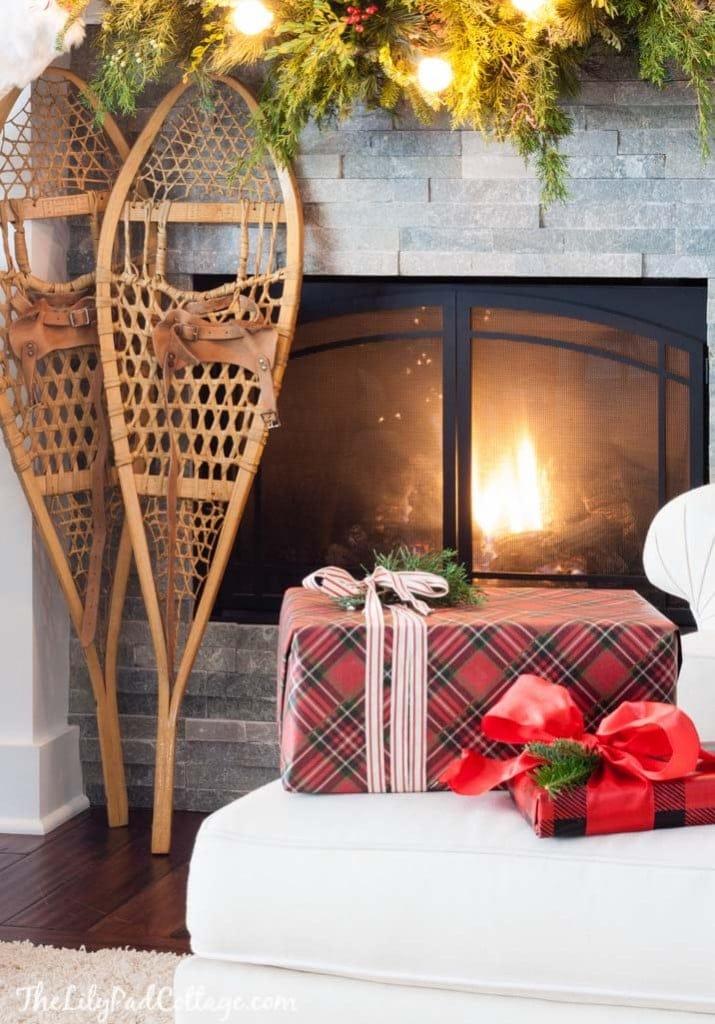Snowshoe Christmas Mantel