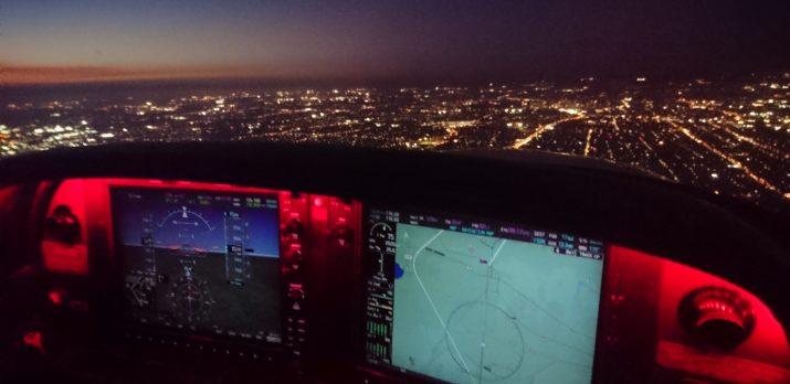 NVFR rating flight training - Cirrus at night