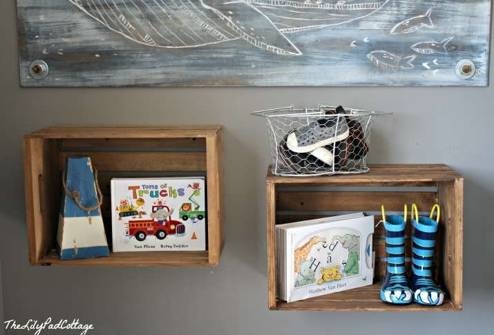 Crate Shelves - www.thelilypadcottage.com