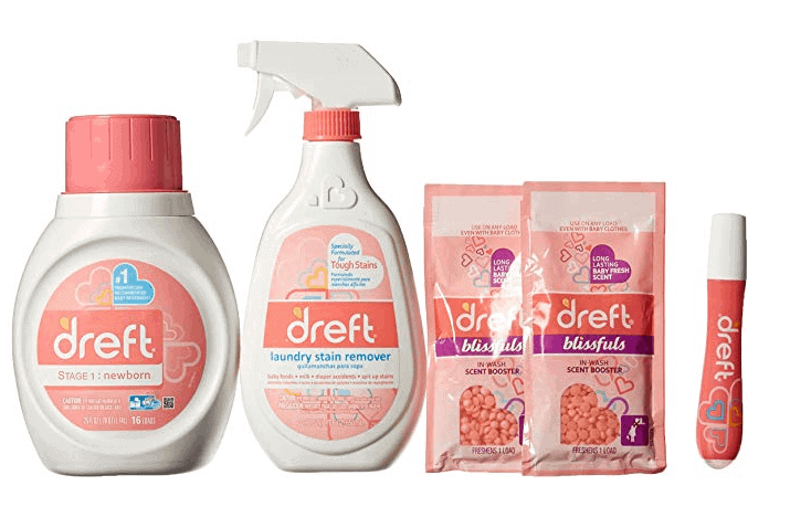 Dreft Baby Laundry Detergent, Stain Remover Spray and to-Go Pen, Scent Booster Blissful, and All-Purpose Cleaner Gift Pack