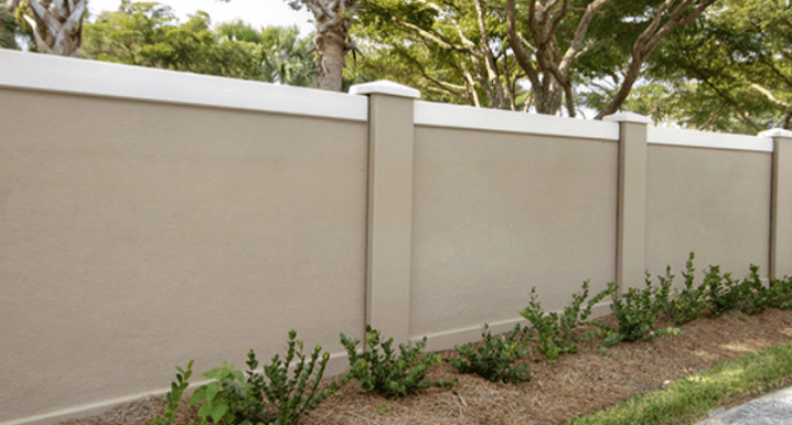 Permacast precast concrete privacy fence