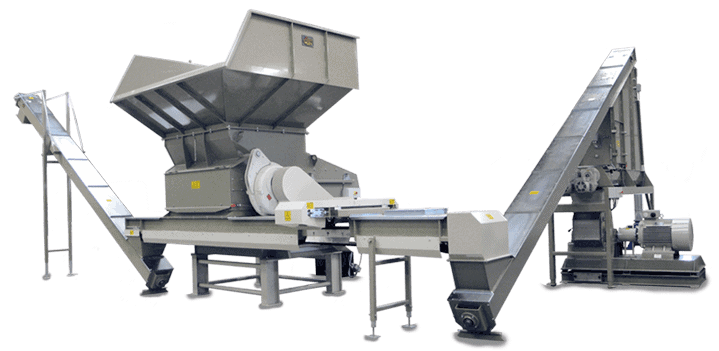 Scanhugger complete wood shredding system with hopper shredder conveyors, metal separation and hammer mill