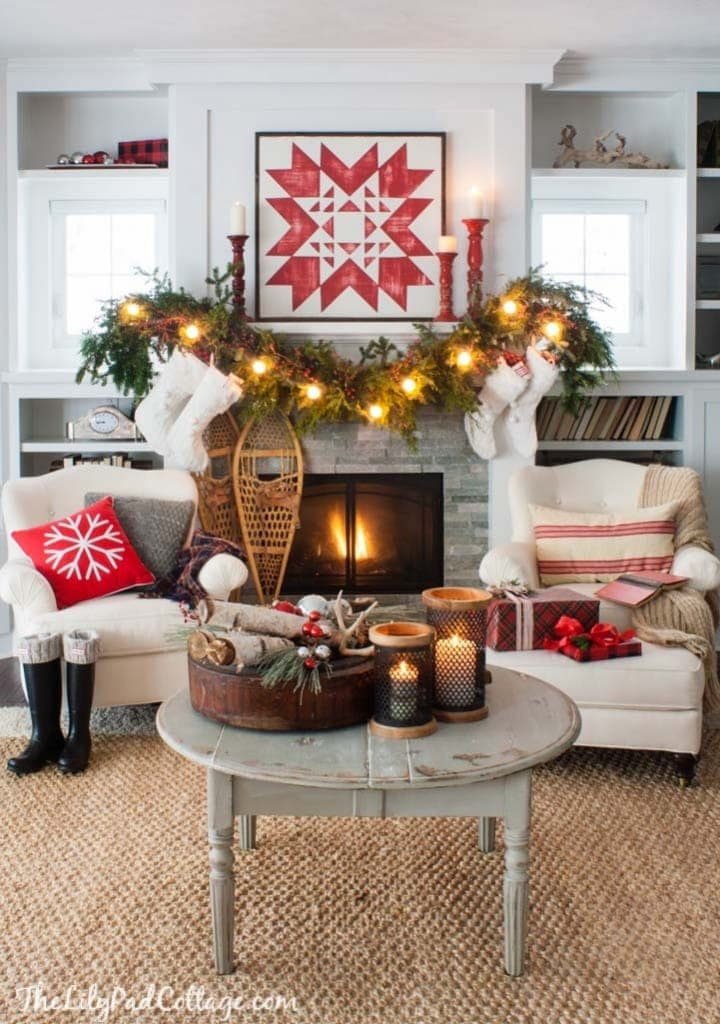 Christmas mantel red and white