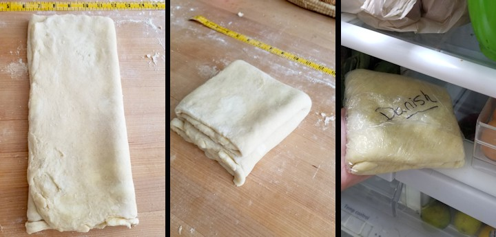 three photos showing how to finish layering quick danish dough.