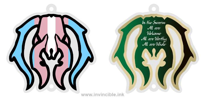 Preview of trans pride charm for the Golgari Guild