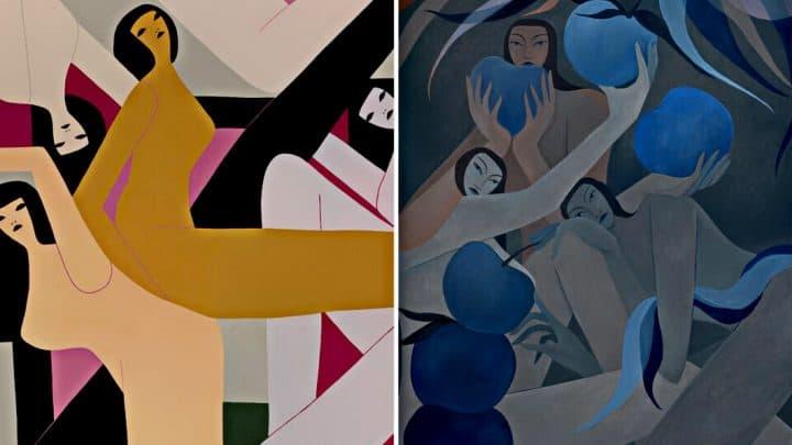 Figuras femininas minimalistas de Laura Berger Artes & contextos Left If I were you 3 2019 acrylic on wood panel 30 x 40 inches. Right Night fruit 2020 1
