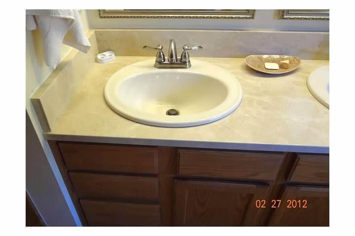 Updated dual sink vanity in remodel of bathroom room in Denver