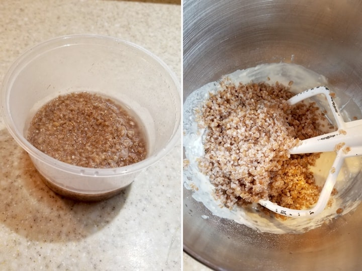 two side by side photos showing how to soak cracked wheat for bread dough