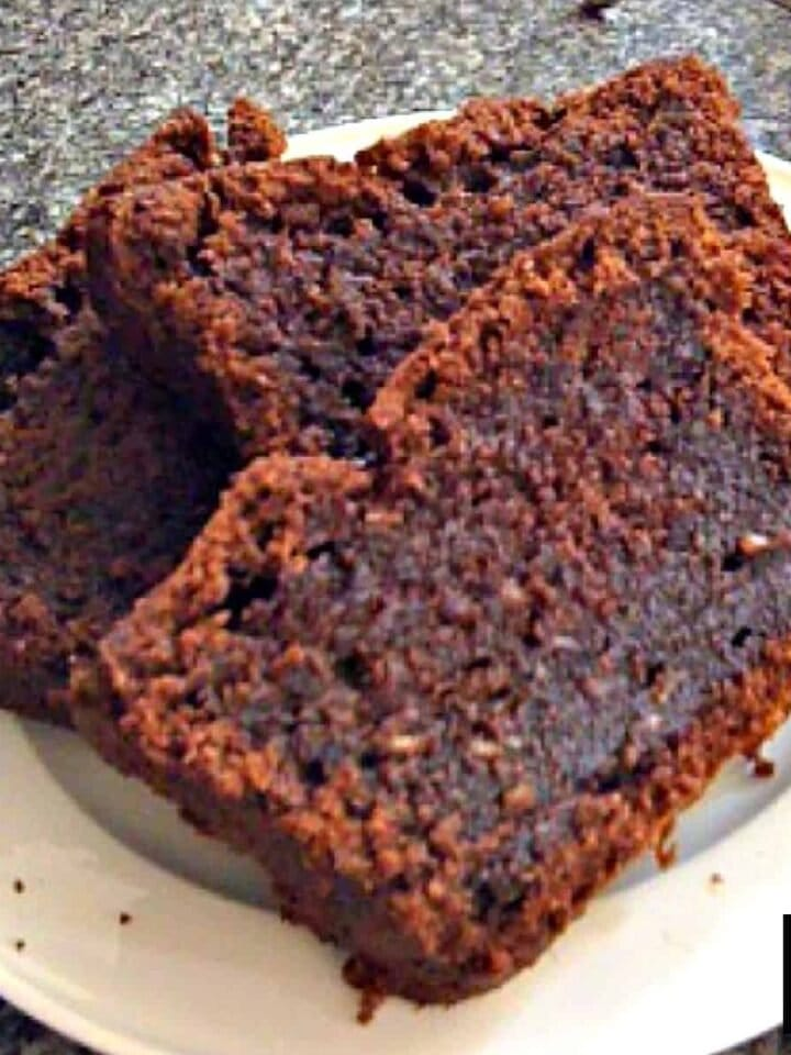 Chocolate Almond Pound Cake. Delicious, rich chocolate cake with added melted chocolate and ground almonds. Perfect as an afternoon tea cake or a dessert cake