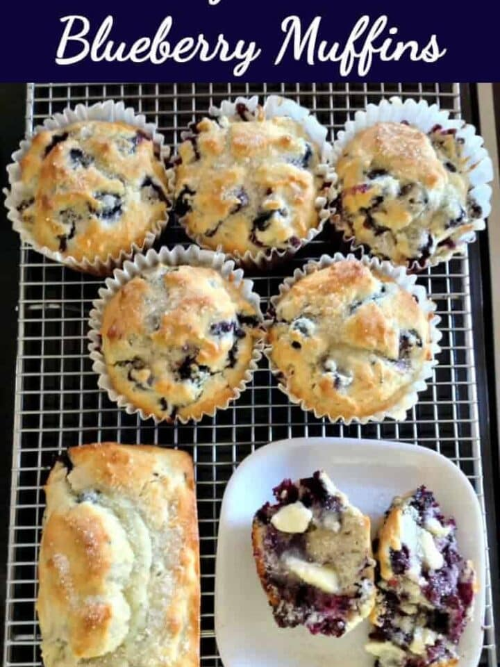 Blueberry Muffins Easy recipe and great served warm with a blob of butter and a lovely cup of tea!