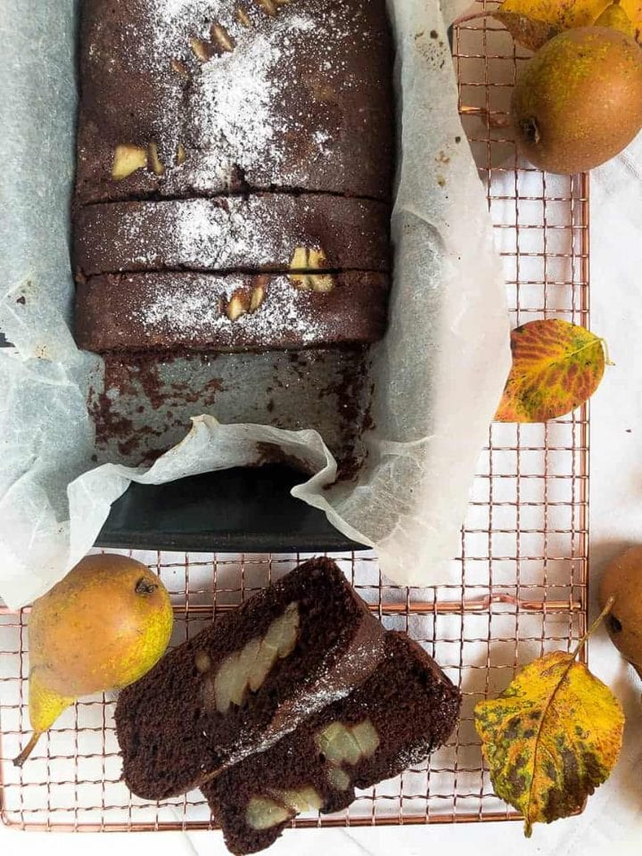 Gluten free chocolate and pear loaf cake