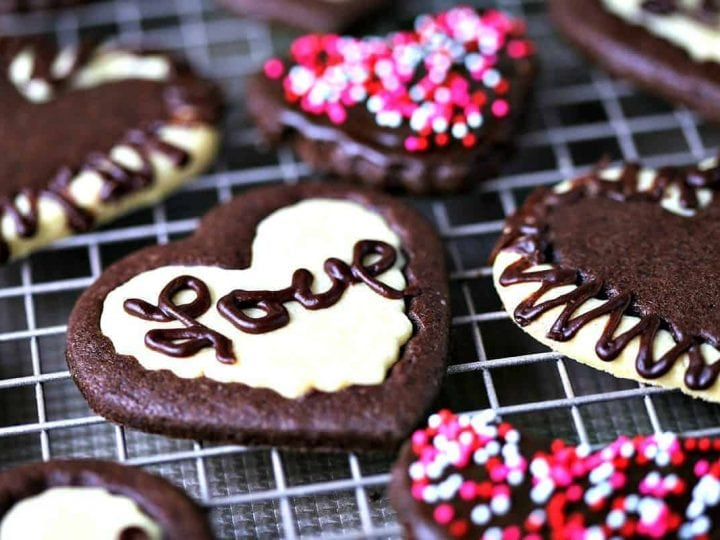 Chocolate and Vanilla Sweetheart Cookies
