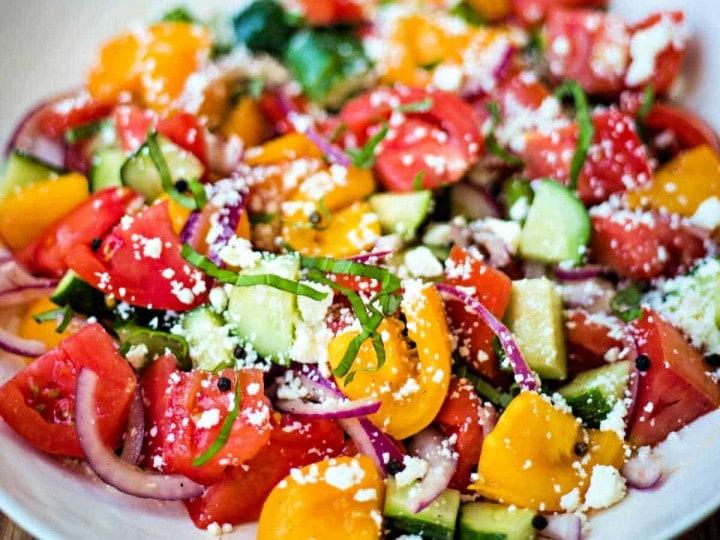 cumber tomato feta salad
