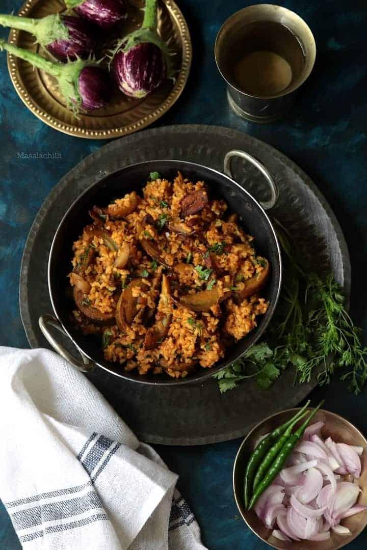 Brinjal Rice / Kathirikai Sadam with Brown Rice