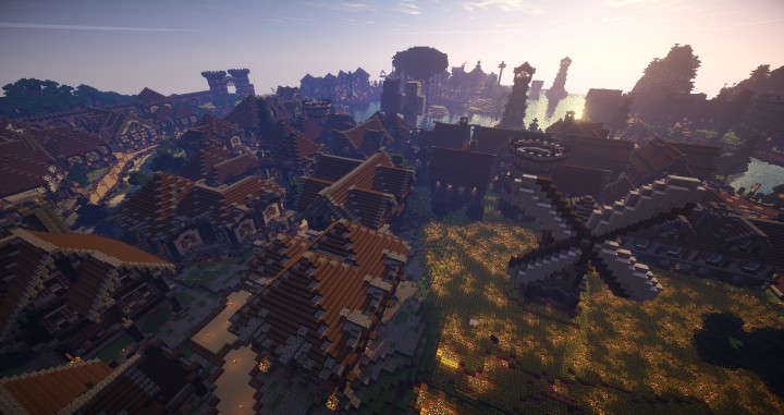 Large Medieval Village minecraft building ideas town city huge house water port 2