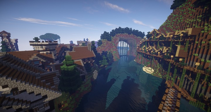 Large Medieval Village minecraft building ideas town city huge house water port 5