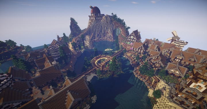 Large Medieval Village minecraft building ideas town city huge house water port