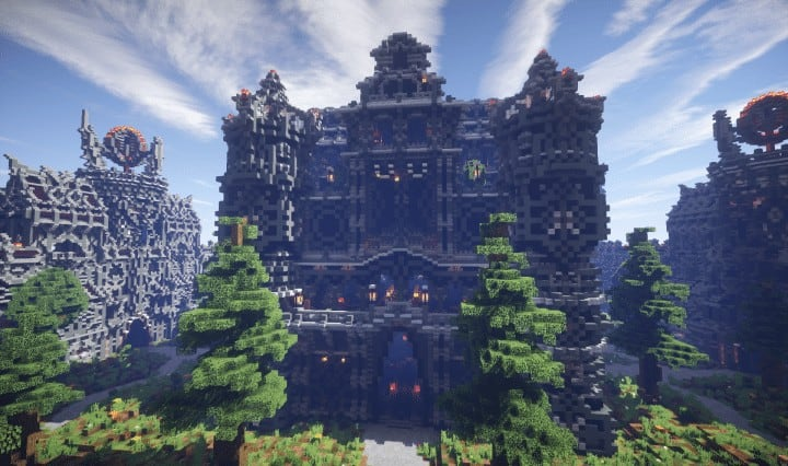 Epic Evil Themed Medieval Faction Spawn Free Large castle trees Minecraft building ideas server 4