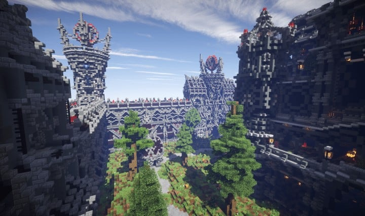 Epic Evil Themed Medieval Faction Spawn Free Large castle trees Minecraft building ideas server 5