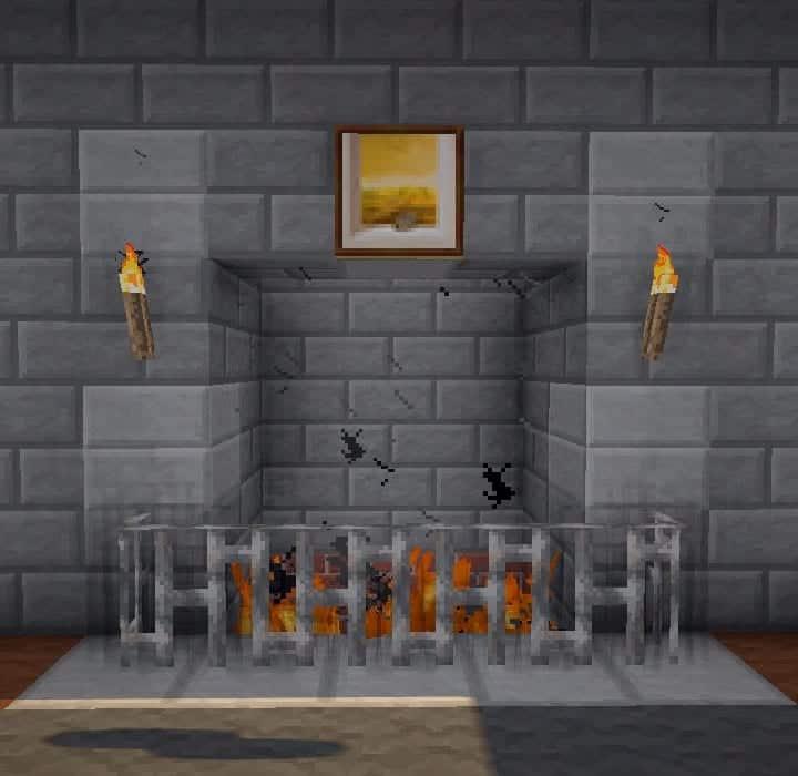 minceraft building ideas alcove style fireplace