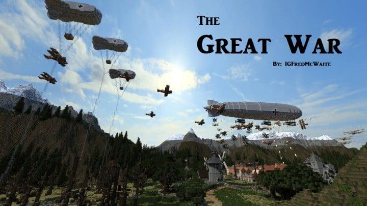 he Great War Battlefield 1 Inspired Map  Download Minecaft buildings ideas gaming zeppelin war amazing 6