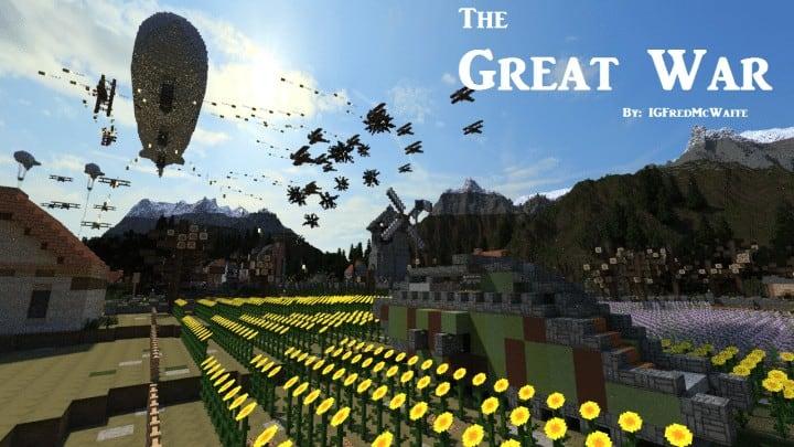 he Great War Battlefield 1 Inspired Map  Download Minecaft buildings ideas gaming zeppelin war amazing 8