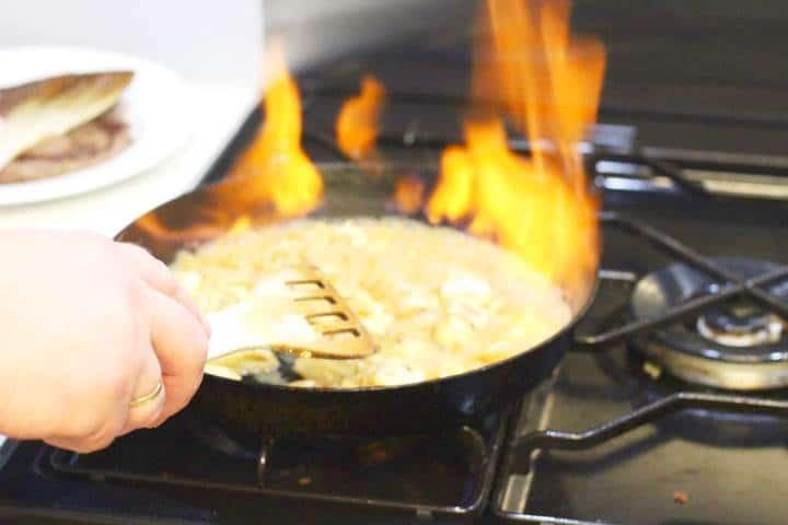 flambe the brandy cream sauce of steak diane recipe