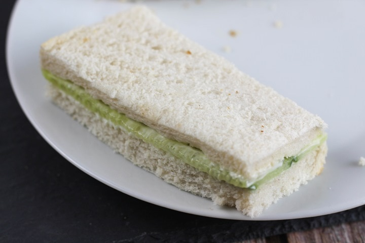 rectangular cucumber sandwich