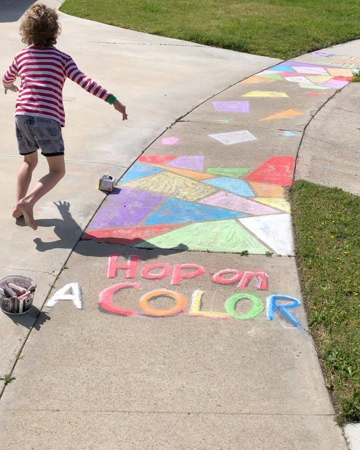 "Christina S. Crafty's Instagram profile post: ""A lot of our neighbors have been doing fun sidewalk art to perk up the quarantine. We joined in today. #sidewalkchalk #sidewalkchalkart…"""