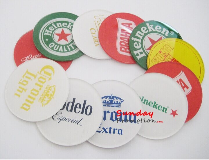 Clear Round Acrylic Coasters with Custom Logo or Full Color Print Promotional