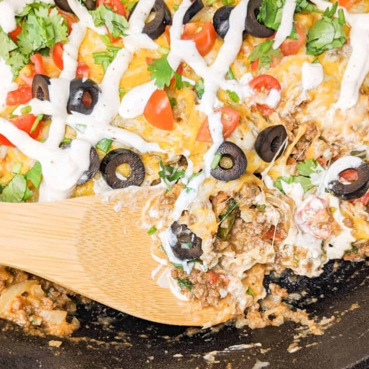 Keto Mexican Skillet being cooked on a stove top