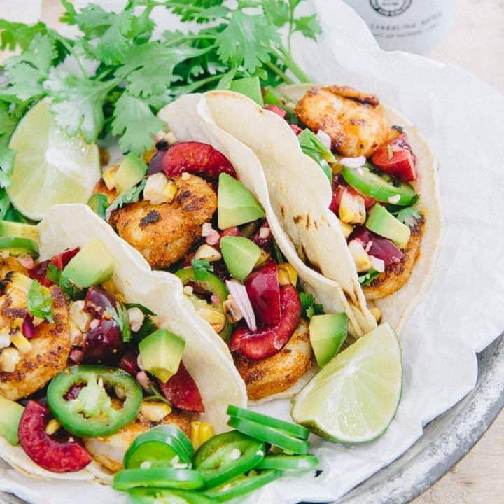 Blackened Shrimp Tacos with Grilled Corn Cherry Salsa