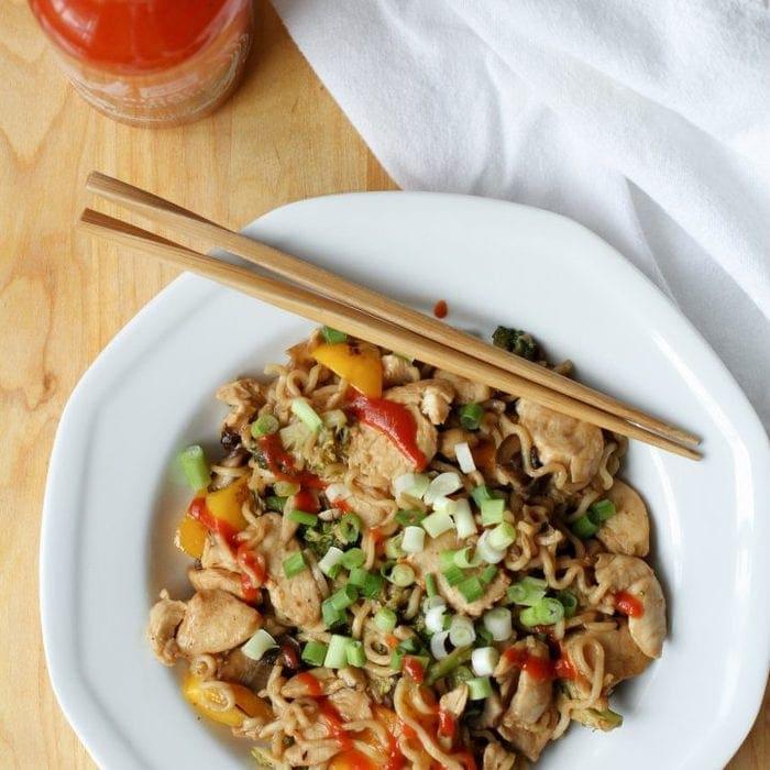 One-Pan Chicken and Veggie Ramen Bowls