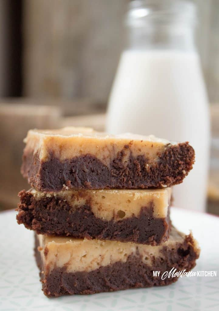 Peanut Butter Swirl Brownies (Low Carb, Sugar Free, Gluten Free, THM-S) #trimhealthymama #thm #thms #peanutbutter #brownie #glutenfree #sugarfree #lowcarb #healthy