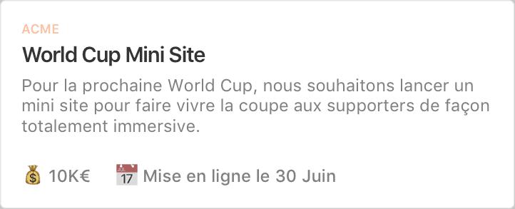 Exemple de projet : World Cup Mini Site