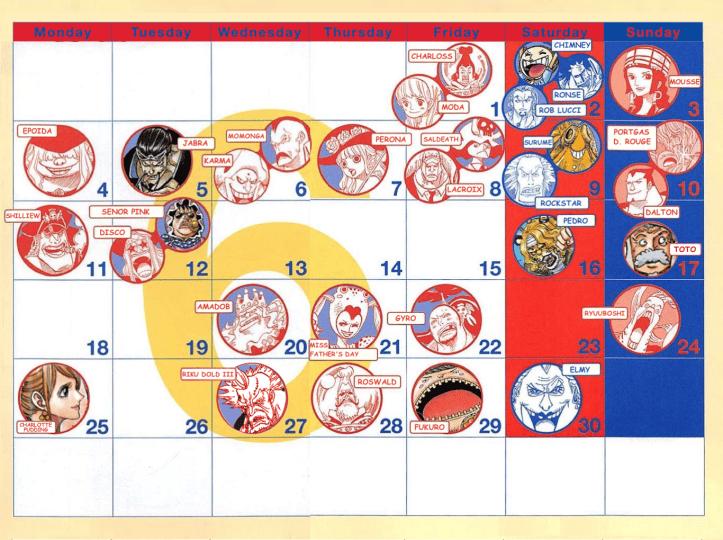 One Piece Birthday Calendar