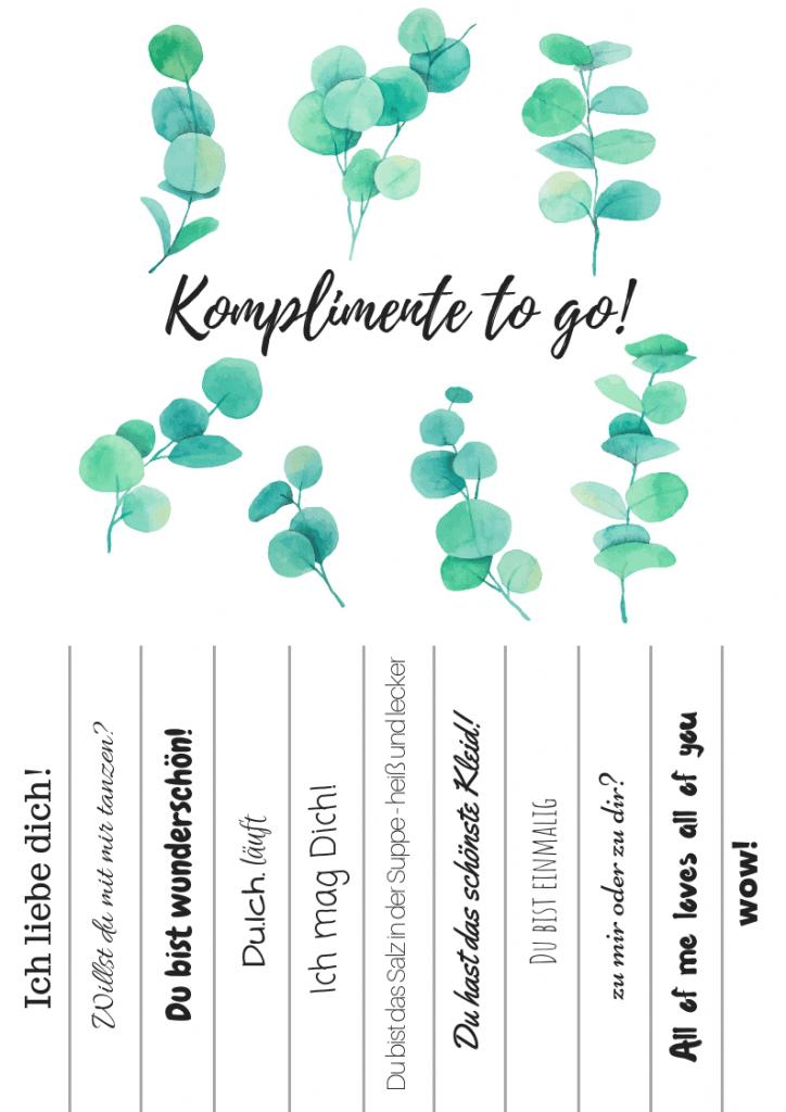 Komplimente to go! Hochzeit Eukalyptus